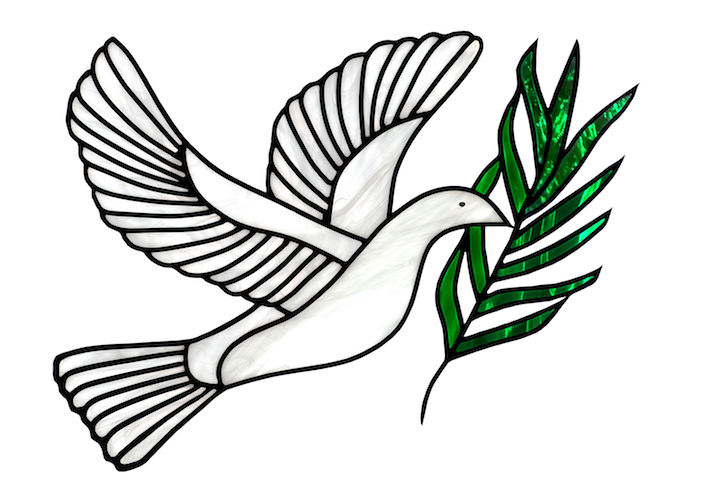 Stained Glass Dove Of Peace With Olive Branch