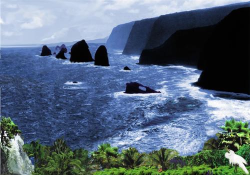 Mountainous Ocean Scene With Waterfall & Garden
