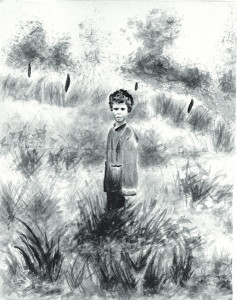 Boy in Field, Sumi Brush Painting