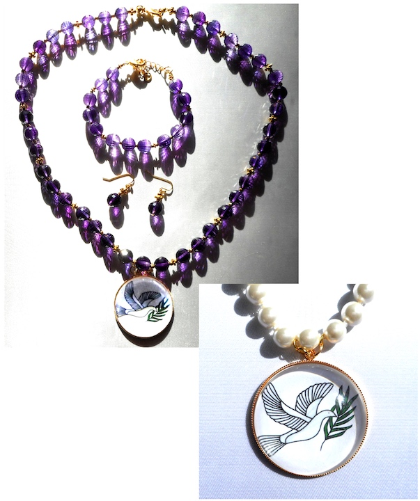 Amethyst & Pearl Dove of Peace Jewelry