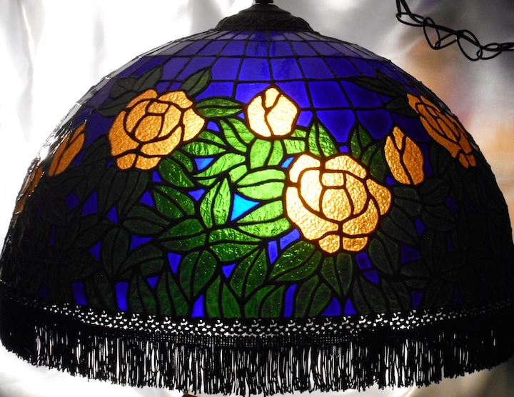 Stained Glass Rose Lamp with Fringe