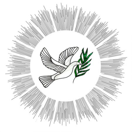 Stained Glass Dove Of Peace With Halo