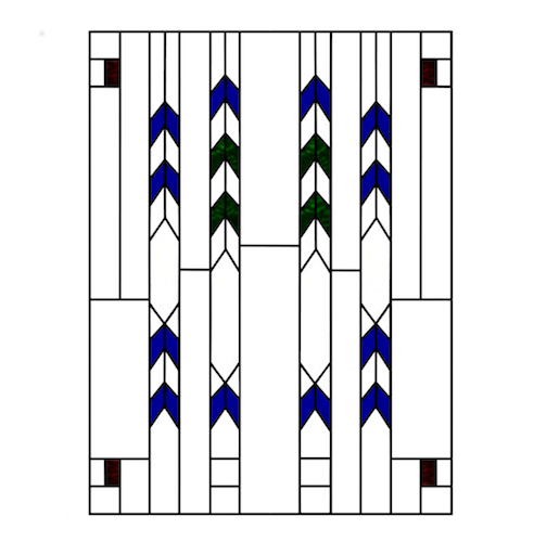 Frank Lloyd Wright Style Stained Glass, Staggered Square of Chevrons