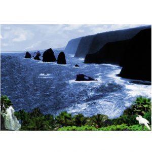 Ocean, Waterfall & Mountains Art Greeting Card