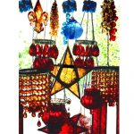 Yellow, Red & Blue Glass With Greenery Art Greeting Card