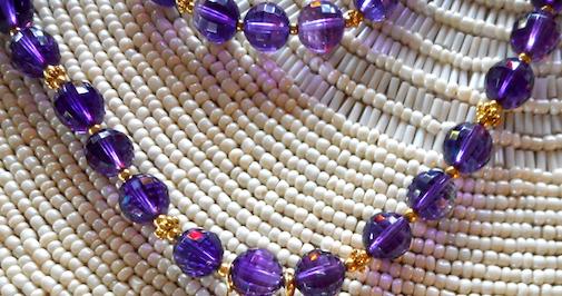 Amethyst Beads, Close Up