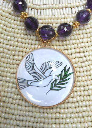 Dove of Peace Pendant on Amethyst Necklace, Close Up