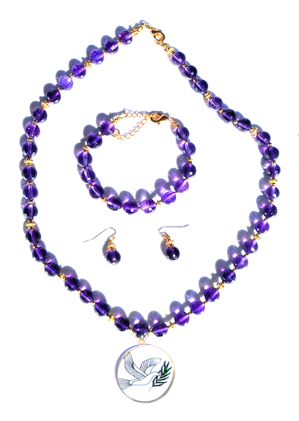 Amethyst Necklace, Bracelet, & Earrings Set