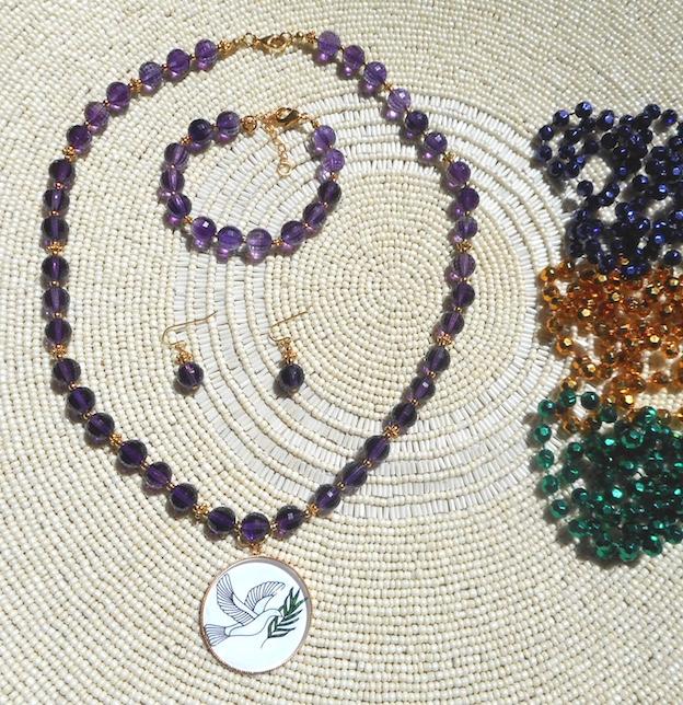 Amethyst Necklace, Bracelet, & Earrings with Mardi Gras Beads in Sun