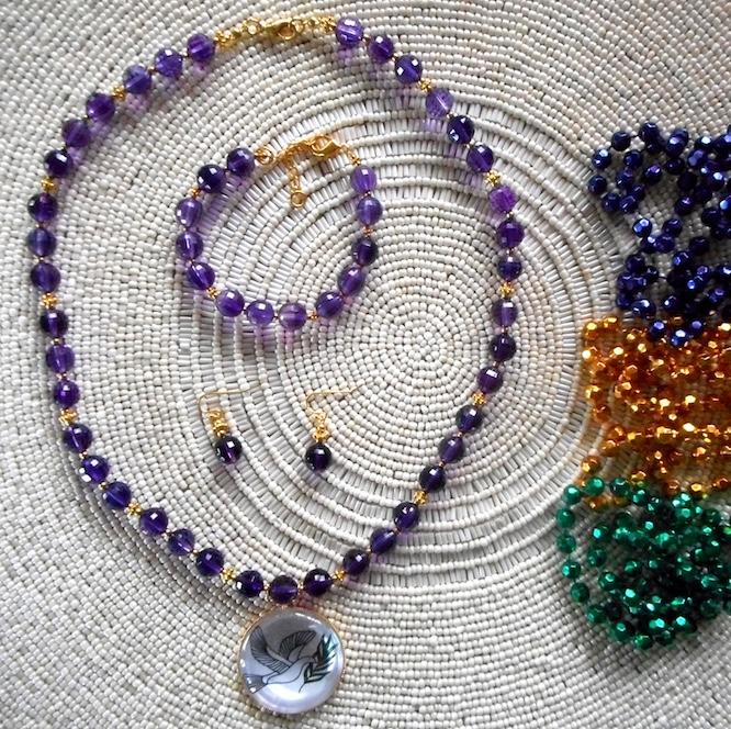 Amethyst Necklace, Bracelet, & Earrings with Mardi Gras Beads in Window Sun