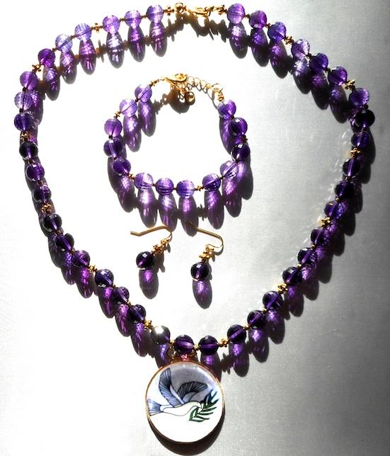 Amethyst Necklace, Bracelet, & Earrings Set in Window Sun