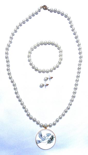 Pearl Necklace, Bracelet, & Earrings Set in Sun