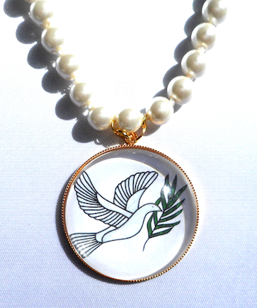 Dove of Peace Pendant on Pearl Necklace, Close Up