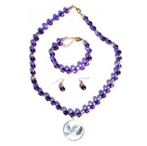 Amethyst Necklace, Bracelet, & Earrings Set With Dove Of Peace Pendant