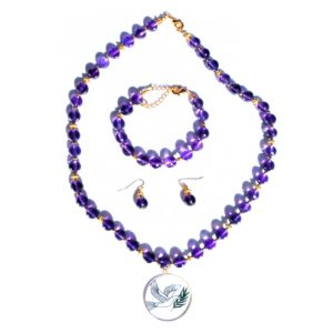 Amethyst Necklace, Bracelet, & Earrings Set With Dove Of Peace Pendant