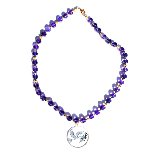 Amethyst Necklace With Dove Of Peace Pendant