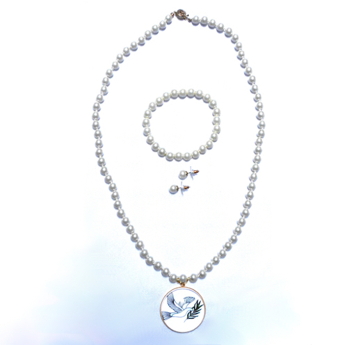 Pearl Necklace, Bracelet, & Earrings Set With Dove Of Peace Pendant