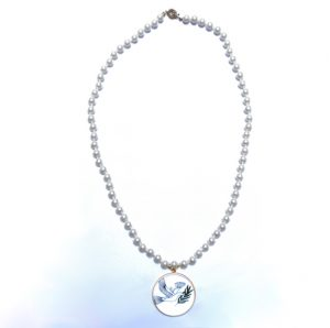 Pearl Necklace With Dove Of Peace Pendant
