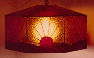 Brown, Amber, & Red Stained Glass Sunrise Lamp