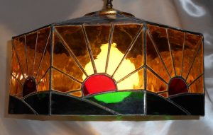 Blue, Green, & Amber Stained Glass Sunrise Lamp side view