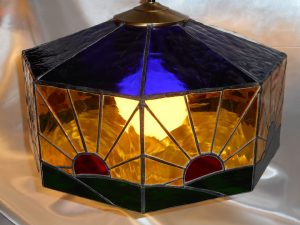Blue, Green, & Amber Stained Glass Sunrise Lamp top view