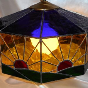 Sunrise In America Stained Glass Lamp (green, Blue, Yellow, Red)